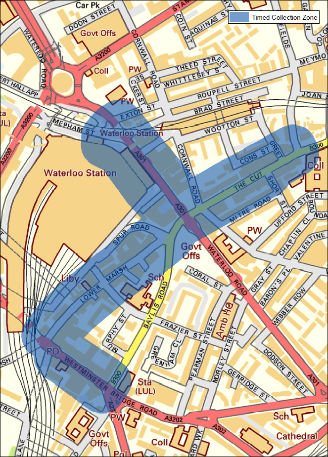 Image showing Waterloo timed waste collection area