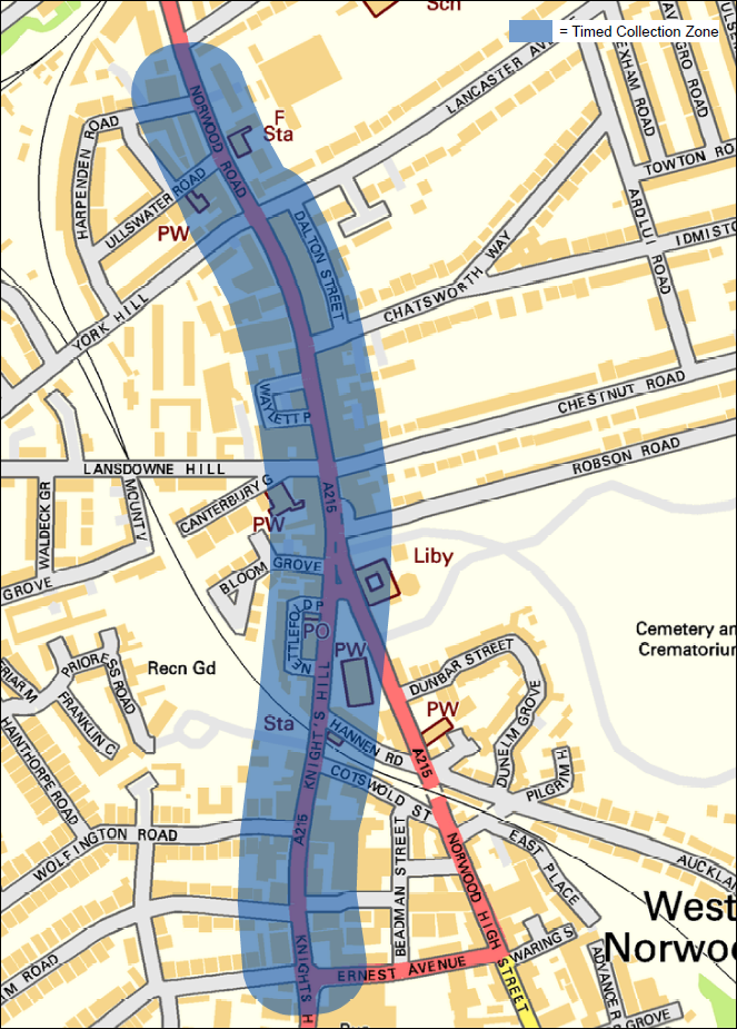 Image showing West Norwood timed waste collection area