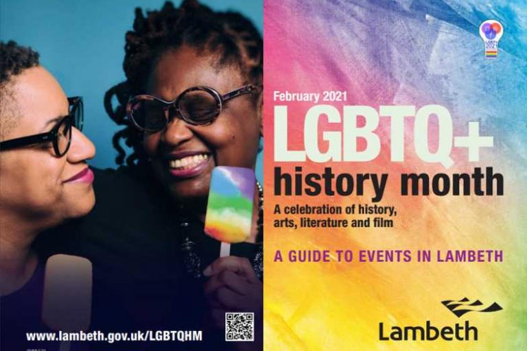 PDF brochure for the LGBTQ+ history month. A guide to events in Lambeth.