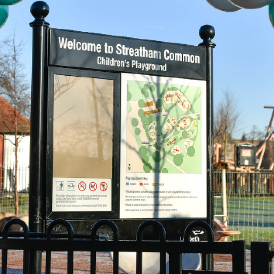 Entrance to Streatham Common children's playground grand opening with balloon arch