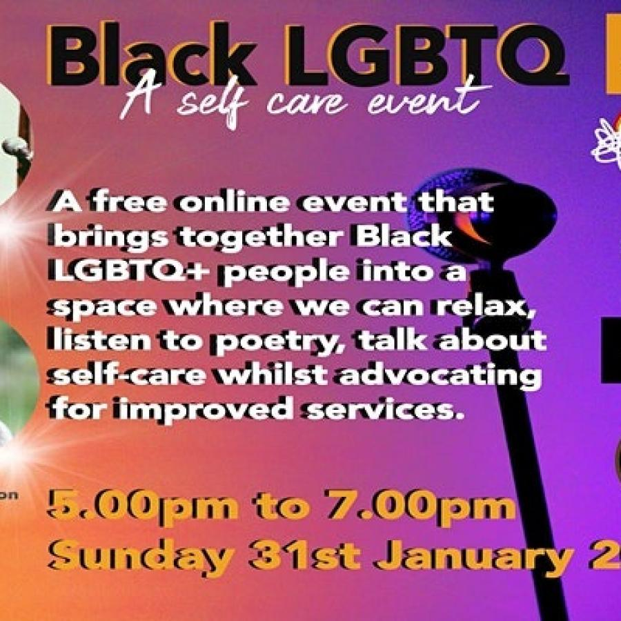 Black LGBTQ+ self care through poetry poster